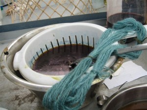 One skein just removed from our small woad ball vat