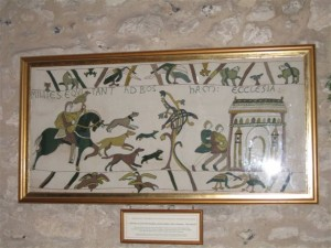 A copy of the section of the Bayeux tapestry showing Bosham church