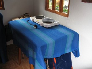 My dyeing area, complete with shiny new heat source, as yet unused.
