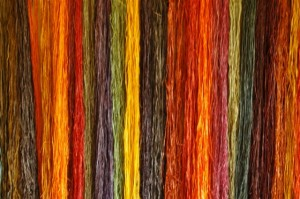 Some of the naturally-dyed raffia fibres, dyed by the basketweavers of Rubona, Uganda.