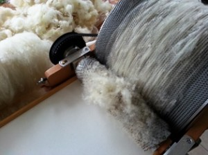 blog drum carder in action